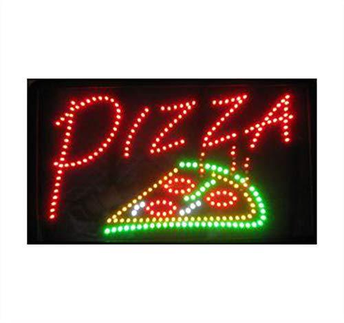 'SSS el original-Claro parpadeando LED de cartel con el texto'PIZZA, de neón, animado fino Shop de pantalla para colgar para interiores, 54cm x 31cm x 2cm
