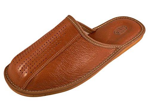 Pantofole In Pelle Da Uomo Di Linea Naturale, Con Soletta Ortopedica O Foderata In Lana, Disponibili In Diversi Colori Marrone