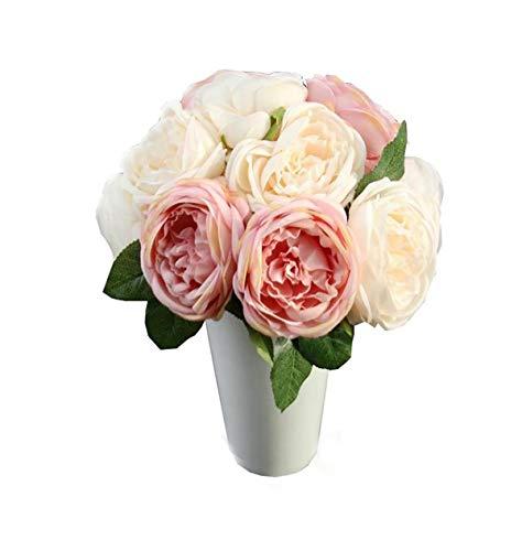 Morning May Rosa Blume Wohnaccessoires & Deko Kunstblumen Künstliche Rose Silk Blumen 5 Blüte Blatt Garten Kunstblumenstrauß mit Künstlichen Rosen Deko für Zuhause, Hochzeiten, Partys (Rosa)