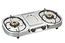 FABERIO Stainless steel Two burner LPG Gas Stove Silver color Standard size