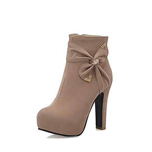 AllhqFashion Damen Rein Nubukleder Hoher Absatz Reißverschluss Stiefel, Aprikosen Farbe, 36