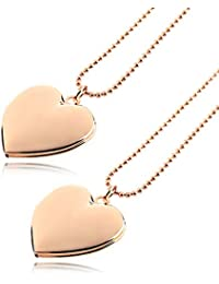Dharshana Trends Minimalist Collection 18K Rose Gold Plated Heart Pendant Heart Necklace Locket Photo Pendant...