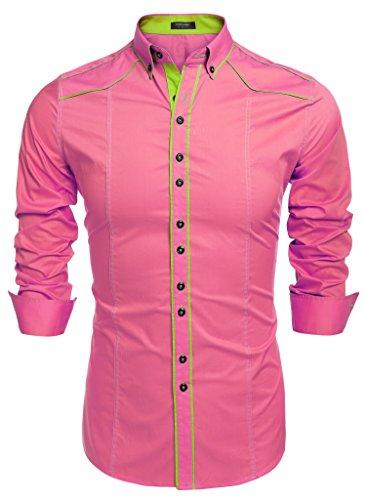 COOFANDY Camisa Rosa Hombre Casual y Elegante para Fiesta de Italiana