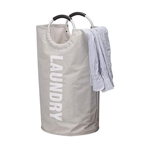 Mogomiten Verdickte Großer Wäschekorb - mit strapazierfähigem Griff, wasserdicht rund Baumwolle Leinen Faltbarer Aufbewahrungskorb (38 cm und 72 cm)