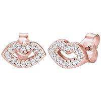 Donna-orecchini a forma di labbra bacio 925 argento e zirconi bianchi - brillante 0302930516