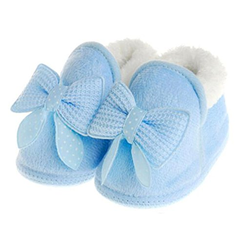 Highdas Newborn Infant Bébé Toddler Girls Réchauffez Bow Raquettes Bébé Walker Crib Bottes Bleu