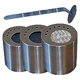 3 leere Edelstahl-Dosen je 0,5L inkl. Sparplatten + Flammen-Killer + Keramikwatte-Einsätze