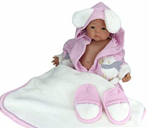 Baby Erstausstattung Set: Bademantel Kapuze Badetuch Schuhe Gürtel mit süßer Tier Applikation Schaf aus 100% Baumwolle I Badeponcho Mädchen Jungen Kleinkind Säugling Babykleidung