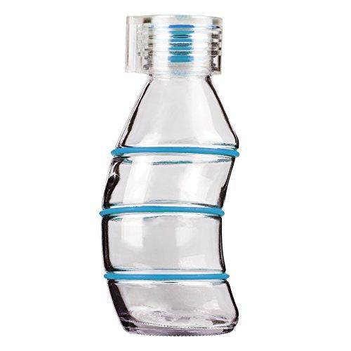 Grip & Go Curvy Trinkflasche, 350ml, Glas, mit Stopper aus Silikon, transparenter Verschluss - Cyan