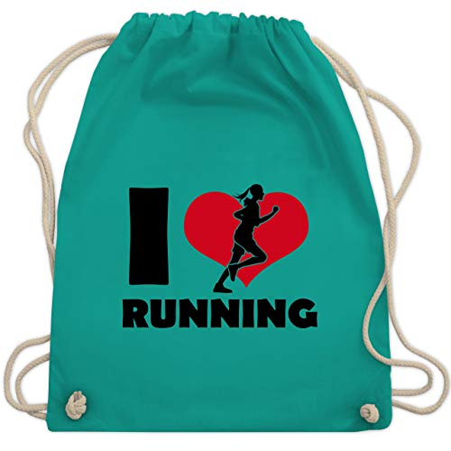 Laufsport - I Love Running - Unisize - Türkis - WM110 - Turnbeutel & Gym Bag (Marathon Kordelzug)