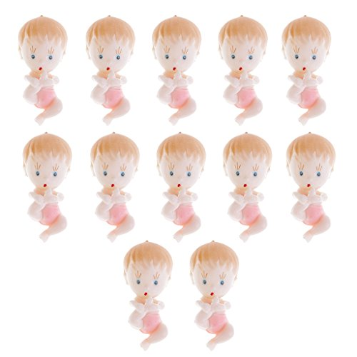 MagiDeal 12 STK. Mini Baby Fuß Figur Baby Dusche Bevorzugungs Partei Dekorationen Taufe - Rosa, 6 x 2,5 x 2,5 cm