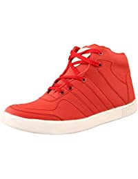 ATUL Men's Synthetic Leather Lace-up High-Top Shoe (Red)