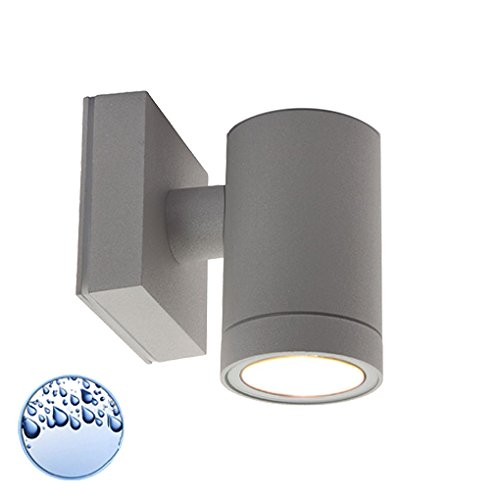 LED Wandleuchte / Wandlampe / Außenleuchte / Up Down / 1-Flammig / Aluminium / Grau / Form:D / IP44 / GU10-230V (Warmweiß)