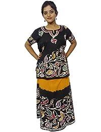 Kheyali Boutique Women Cotton Top And Skirt (KB-TS-BT-0016_Yellow Black)