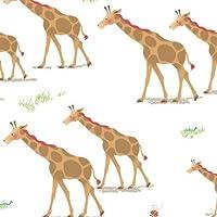 Tela blanca jirafa marrón animal selva de Quilting Treasures 'Heads Up'