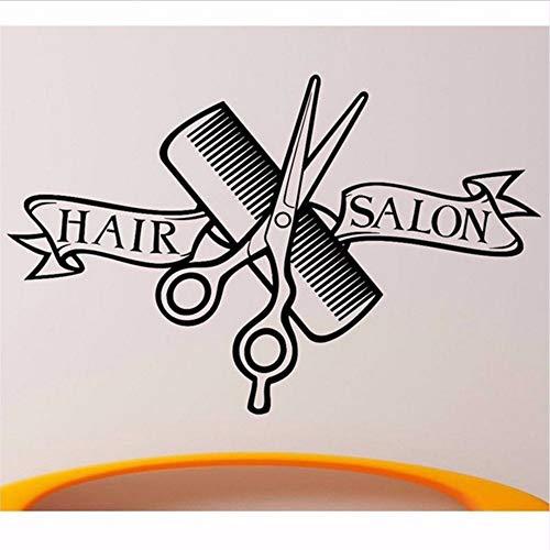 Waofe Design Moderne Barber Shop Wall Sticker Ciseaux Clipper Hair Salon Decal Neutre Coupe De Cheveux Affiche Vinyle Mur Art Décor 58 * 37 Cm
