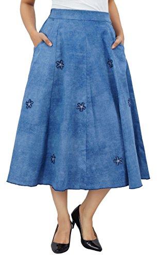 Bimba taille élastique femmes jupe évasée en denim avec patchwork design poches boho jupes occasionnels Bleu