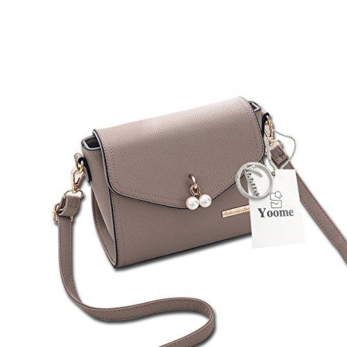 Yoome Elegante Perle Anhänger Klappe Tasche Lichee Muster Umschlag Taschen Für Frauen Leder - Schwarz Khaki