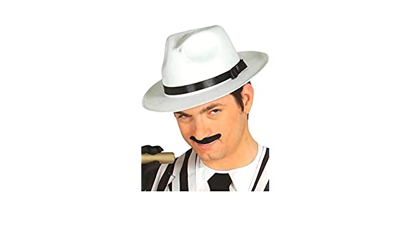 Guirca Sombrero de gángster blanco con cinta negra  Amazon.it  Abbigliamento fa254c4ca8b9