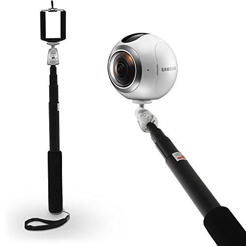 Igadgitz nero monopiede telescopico allungabile portatile self portrait selfie stick e cinturino da polso per samsung gear 360 fotocamera