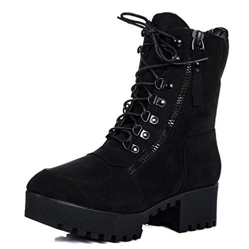 SPYLOVEBUY YANGTZE Damen Schnür Blockabsatz Stiefeletten Schuhe Schwarz - Synthetik Wildleder