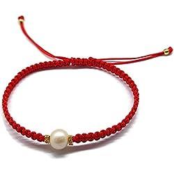 Pulsera con Perla de Macrame Hecha a Mano Roja