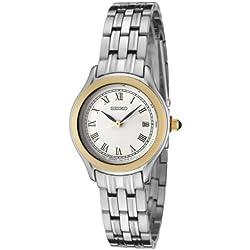 Seiko Ladies Quartz Analogue Watch SXDC26P1 with Two Tone Bracelet and White Dial