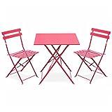 Best Chaises pliantes rouges - Salon de Jardin bistrot Pliable - Emilia carré Review