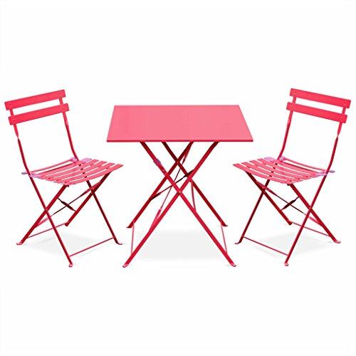 Alice's Garden - Salon de Jardin bistrot Pliable - Emilia carré Rouge - Table carrée 70x70cm avec Deux chaises Pliantes, Acier thermolaqué