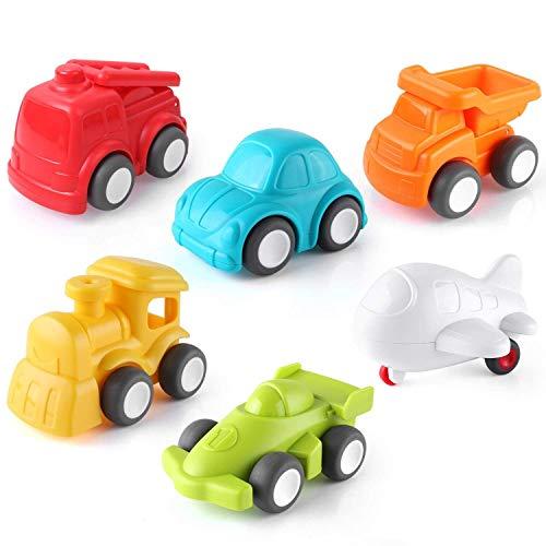Pedy Spielzeugauto, 6 Pcs Kinder Auto Spielzeug, Push and Go Fahrzeugset, Reibungskraft Toy Cars Fahrzeuge Set für Kleinkinder Geschenk (Spielzeug Für Kleinkinder Autos)