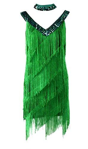 reizvoll Funkelnde V-Ausschnitt Makramee Geschichtet Latin tanzenkleid Grün