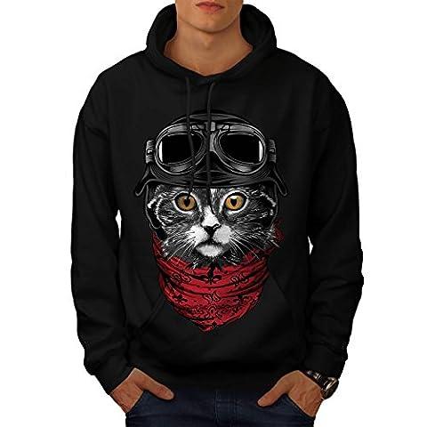 Niedlich Mode Pilot Katze Herren M Kapuzenpullover | Wellcoda