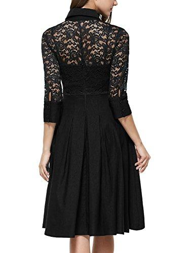 Miusol Damen Spitzen 3/4 Aermel Elegant Revers Cocktailkleid 1950er Jahre Faltenrock Party Kleid Schwarz1 Gr.S - 2