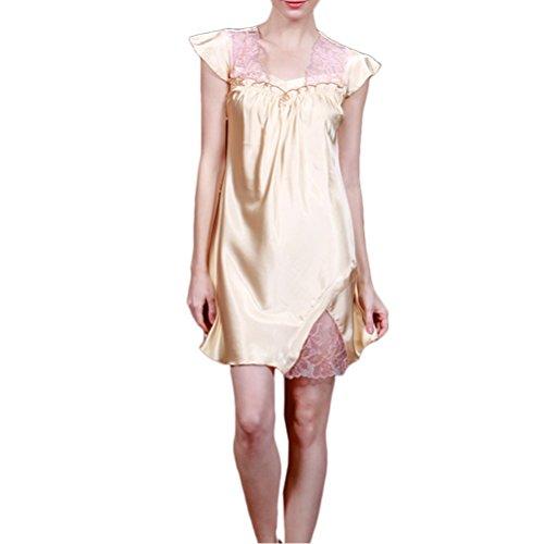 Zhhlaixing Ladies Satin Lace Nightie Nightdress Nightgown Nightwear Sleepwear Champagne