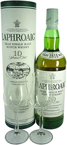 Geschenkidee 6: Laphroaig Single Malt Scotch Whisky 10 Jahre 0,7l und 2 Gläser -10% Rabatt