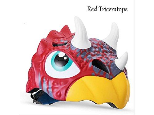 PanpA Casco de Montar a Caballo del Casco de los niños Casco de la Bici del Casco del Medio Casco de la Historieta (Triceratops Rojo)