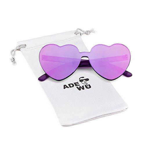 ADEWU Randlos Sonnenbrille Herzform Süßigkeit Farbe Brille Damen Frauen (Lila)