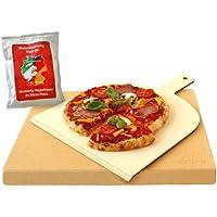 Vesuvo Pack de piedra para horno y barbacoa V38303 / para cocinar pizzas y pan / 38 x 30 x 3cm / con pala y harina para pizzas