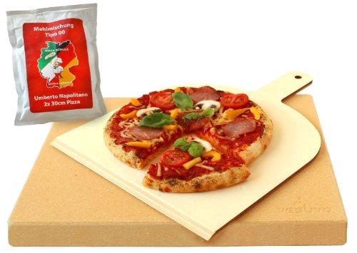 Vesuvo V38303 Pizzastein- / Brotbackbackstein Set für Backofen und Grill mit...