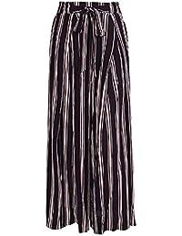 Pantalones Palazzo Mujer Vintage Moda Flecos Pantalones De Tiempo Libre  Elegantes Cintura Alta Anchos Abiertas Basic f878b3c7e1df