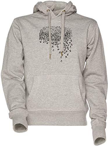 Vendax Noctis Schädel und gekreuzte Knochen Hemd Unisex Herren Damen Kapuzenpullover Sweatshirt Grau Men's Women's Hoodie Grey