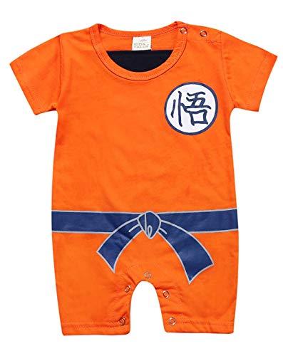 Askong Baby Jungen Halloween Cosplay Dragon Ball Z Son Goku Kurzarm Strampler Kleidung für 3 Monate - 3 Jahre Gr. 2-3 Jahre, Orange (Baby Goku Kostüm)