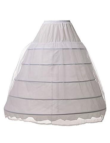 Alicepub 5 Ringe Voll Reifrock Unterrock Brautkleid Ballkleid Krinoline Petticoat, Weiß, S