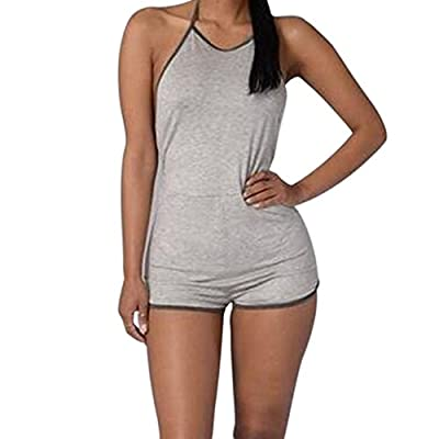 Brawdress 2017 Women Halter Backless Bodycon Shorts Lace-up Jumpsuits