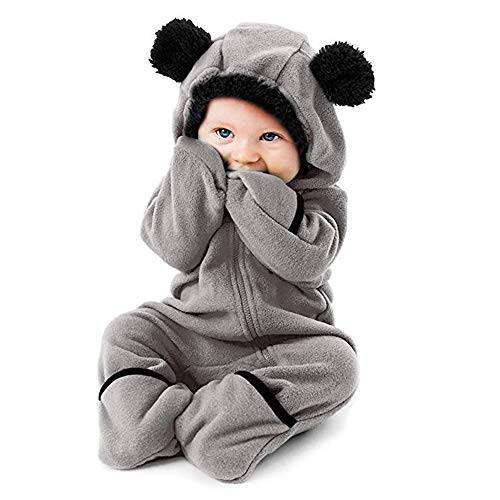Weant Baby Strampler Mädchen 0-6 Monate Winter Langarm Overalls mit Kapuze Ohren Cartoon Fleece Hoodie Bodysuit Jungen Footed Jumpsuit Unisex Set Säugling Spielanzug Baby-Nachtwäsche