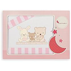 Interbaby Love - Juego de sábanas para minicuna, color blanco/rosa