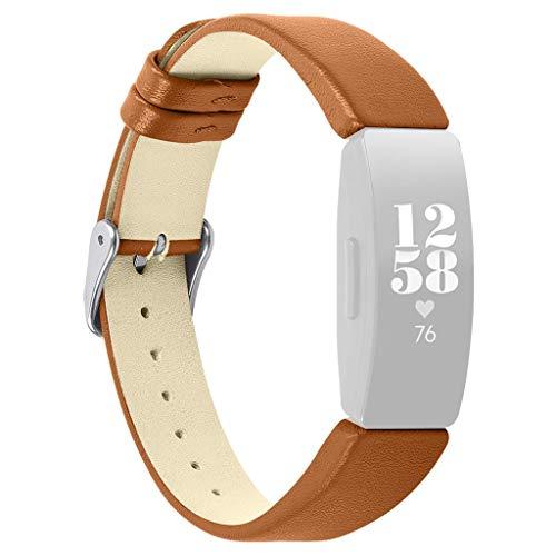 TianranRT Ersatz Leder Watchen Bänder Handgelenk Riemen für Fitbit Inspire/Inspire HR (Braun)