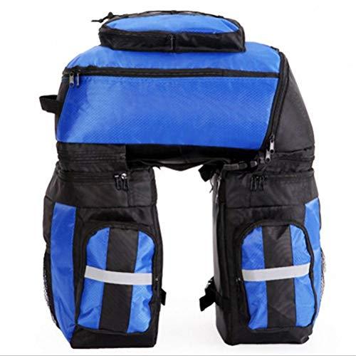 GEPäCKTRäGERTASCHEN Fahrrad, 65L große Kapazität Nylon 3in1 Mountain Road Radfahren Fahrrad Fahrrad Tasche mit Regenschutz,Blue