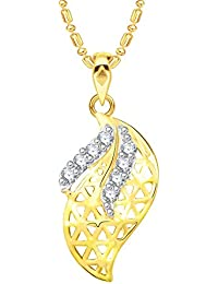 VK Jewels Leaf Gold And Rhodium Plated Alloy CZ American Diamond Pendant With Chain For Women [VKP2587G]
