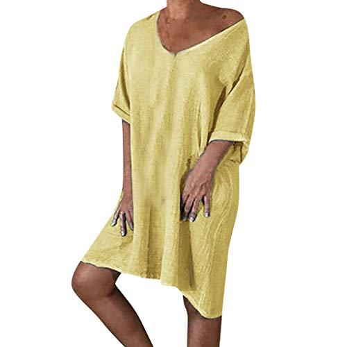Leinenkleid Damen Sommer lose V-Ausschnitt einfarbig T-Shirt Kleid lässig große Größe Kurzarm Kleid Sonojie
